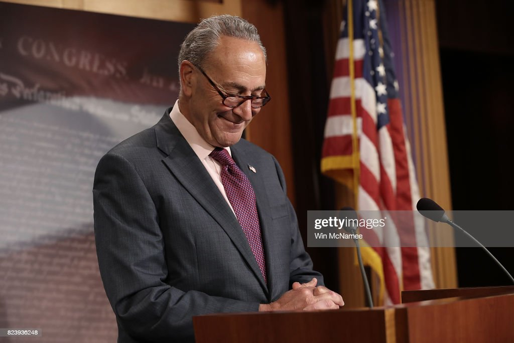Senate Minority Leader Chuck Schumer (D-NY) answers questions during a press conference at the U.S. Capitol on the result of today's early morning Senate vote on health care July 28, 2017 in Washington, DC. During his remarks, Schumer said, 'On health care, but also in the Senate as a whole, I hope what John McCain did will be regarded in history as a turning point.'