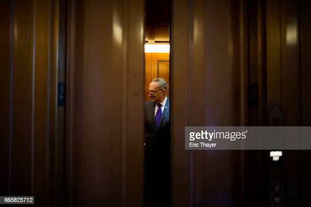 Senate Minority Leader Chuck Schumer boards an elevator before Judge Neil Gorsuch was confirmed as the next member of the US Supreme Court April 7...