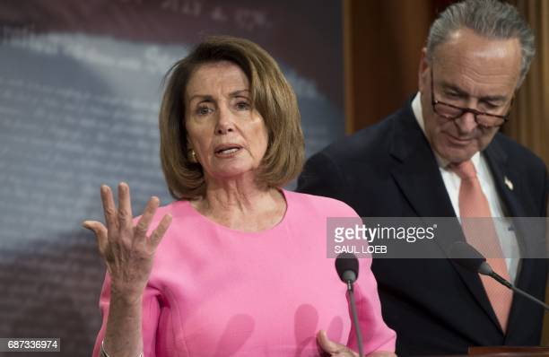 US Senate Minority Leader Chuck Schumer Democrat of New York and House Democratic Leader Nancy Pelosi Democrat of California speak about US President...