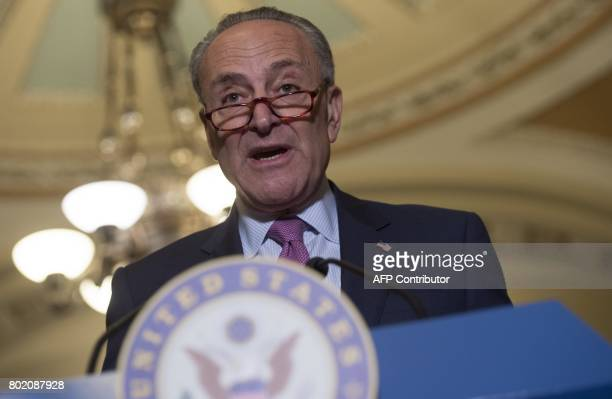 US Senate Minority Leader Chuck Schumer Democrat of New York speaks about the Senate Republican's healthcare bill at the US Capitol in Washington DC...