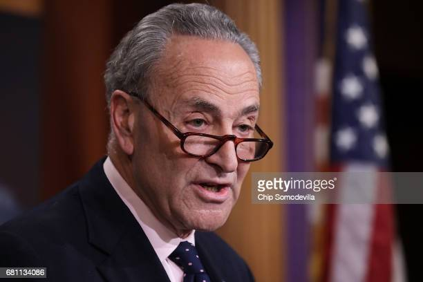 Senate Minority Leader Chuck Schumer holds a news conference at the US Capitol following the firing of Federal Bureau of Investigation Director James...