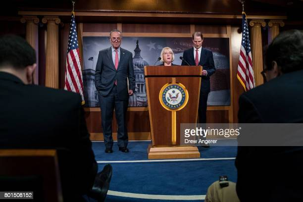 Senate Minority Leader Chuck Schumer Sen Patty Murray and Sen Ron Wyden hold a press conference about the Senate Republican health care bill on...