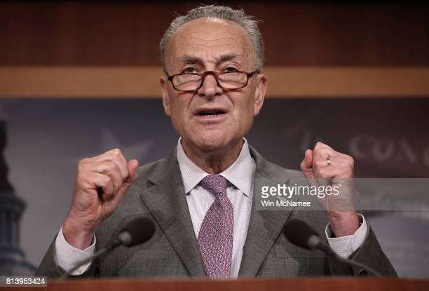 Senate Minority Leader Chuck Schumer speaks during a press conference at the US Capitol July 13 2017 in Washington DC Schumer and Democratic leaders...