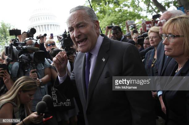 Senate Minority Leader Chuck Schumer speaks during a press conference after Republicans successfully passed a key procedural vote in the US Senate...
