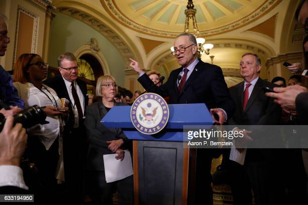 Senate Minority Leader Chuck Schumer speaks with the media at the US Capitol January 31 2017 in Washington DC Schumer addressed President Trump's...