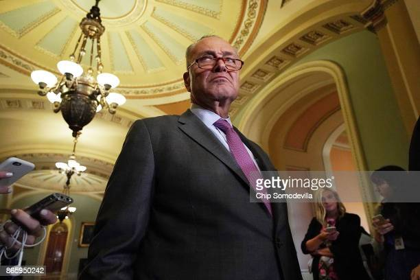 Senate Minority Leader Chuck Schumer talks with reporters follwing the weekly Democratic policy luncheon at the US Capitol October 24 2017 in...
