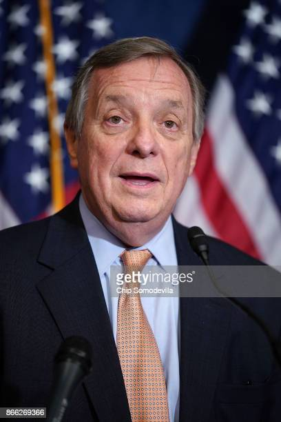 Senate Minority Leader Dick Durbin speaks during a news conference with fellow Democrats 'Dreamers' and university presidents and chancellors to call...