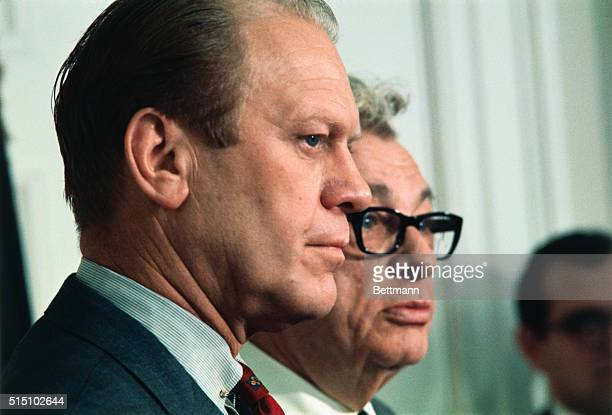 Senate Minority Leader Everett Dirksen and House Minority Leader Gerald Ford talk to newsmen 2/5 after White House meeting with President Nixon The...