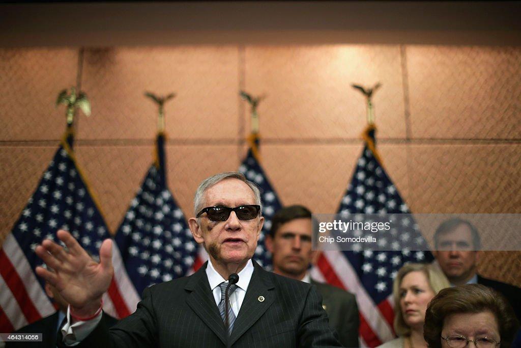Senate Minority Leader Harry Reid accuses Republican Senate leaders of manufacturing the possible shutdown of the Department of Homeland Security...