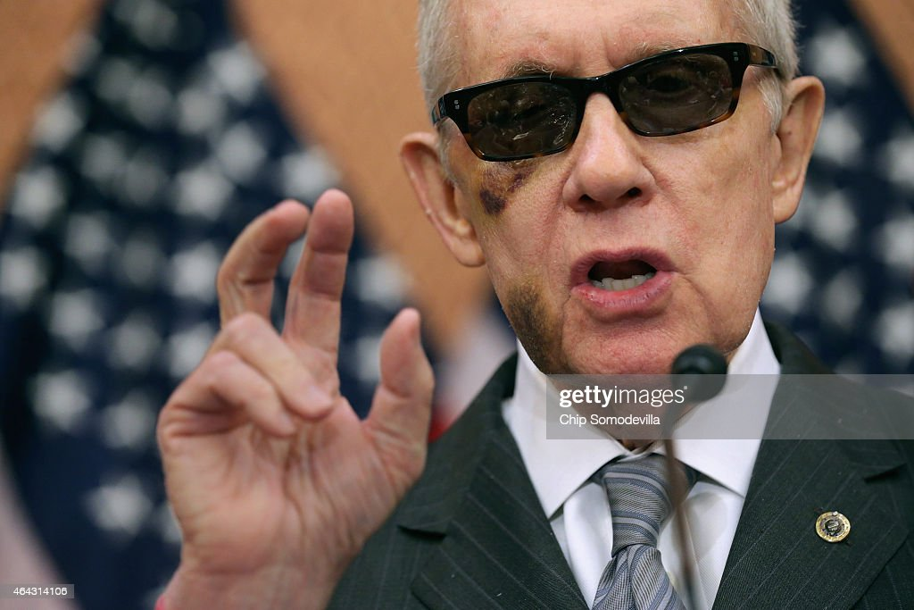 Senate Minority Leader Harry Reid (D-NV) accuses Republican Senate leaders of manufacturing the possible shutdown of the Department of Homeland Security during a news conference at the U.S. Capitol February 24, 2015 in Washington, DC. Democrats have successfully blocked the $39.7 billion funding legislation because it would also strip away the executive actions in which President Barack Obama eased the deportation threat for several million undocumented immigrants. If Republicans and Democrats can not work around the impasse then 30,000 DHS employees will go home February 28 and 200,000 more will work without paychecks until a solution is found.
