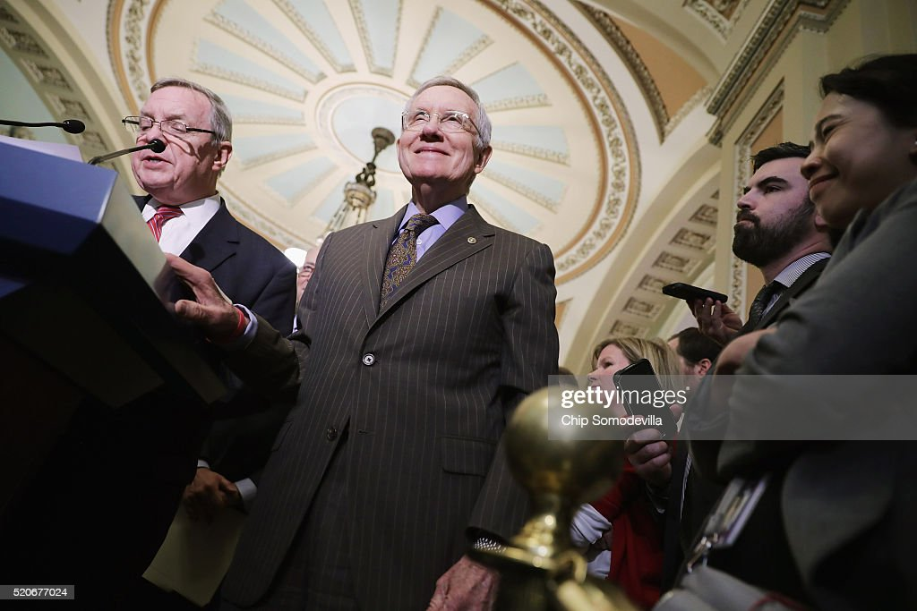 Senate Minority Leader <a gi-track='captionPersonalityLinkClicked' href=/galleries/search?phrase=Harry+Reid+-+Politicus&family=editorial&specificpeople=203136 ng-click='$event.stopPropagation()'>Harry Reid</a> (D-NV) (C) and Senate Minority Whip Richard Durbin (D-IL) (L) talk to reporters following the weekly Senate Democratic policy luncheon at the U.S. Capitol April 12, 2016 in Washington, DC. Senate Judiciary Committee Chairman Chuck Grassley (R-IA) had breakfast with Supreme Court nominee Merrick Garland after promising earlier not to meet with him and Senate Majority Leader Mitch McConnell (R-KY) said this does not erode his refusal to hold a vote on Garland.
