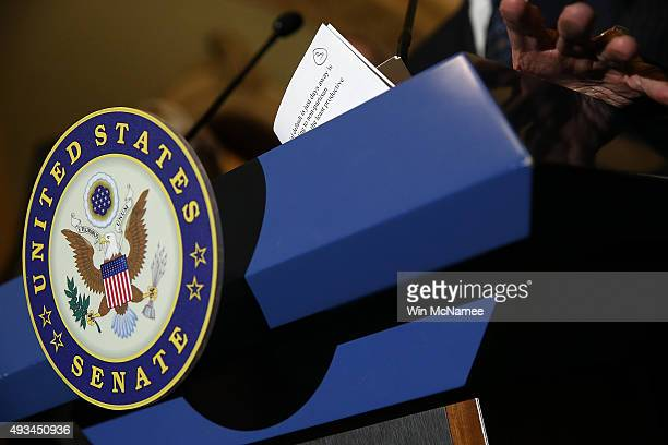 Senate Minority Leader Harry Reid answers questions after a weekly policy meeting at the US Capitol October 20 2015 in Washington DC Reid indicated...