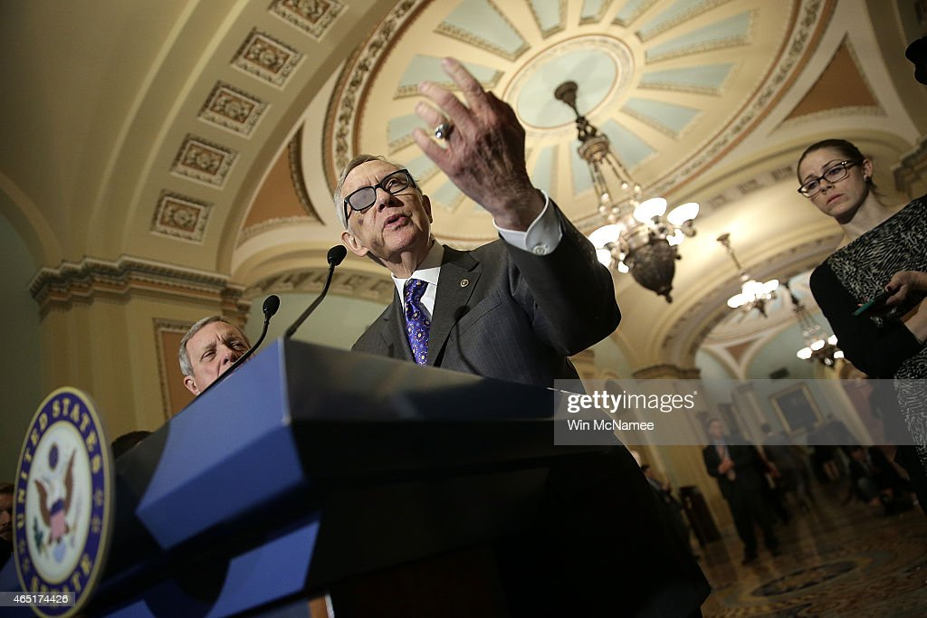 Senate Minority Leader Harry Reid answers questions at a press conference following the weekly policy luncheon of the Democratic caucus at the US...
