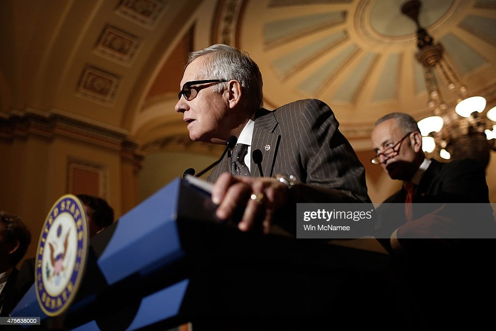 Senate Minority Leader Harry Reid answers questions at the U.S. Capitol June 2, 2015 in Washington, DC. Reid and Schumer spoke following the weekly Democratic caucus policy luncheon.
