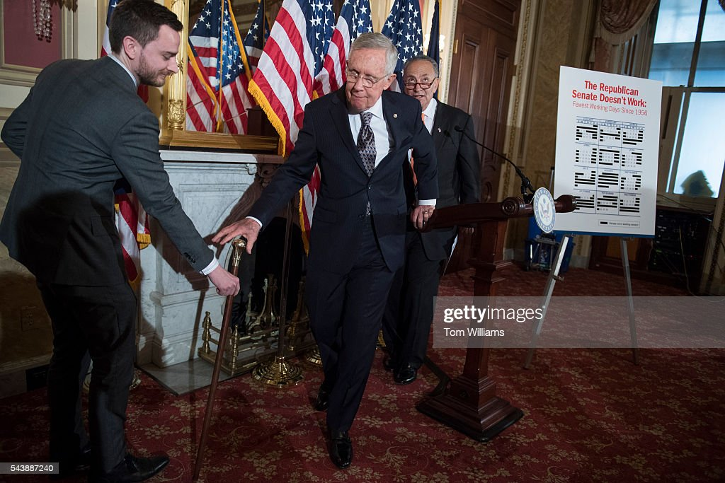 Senate Minority Leader Harry Reid, D-Nev., center, and Sen. Charles Schumer, D-N.Y., conclude a news conference in the Capitol to call on Republicans to cut the Congressional recess short and work on Zika legislation, June 30, 2016.