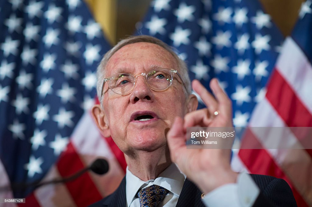 Senate Minority Leader Harry Reid, D-Nev., conducts a news conference in the Capitol to call on Republicans to cut the Congressional recess short and work on Zika legislation, June 30, 2016.