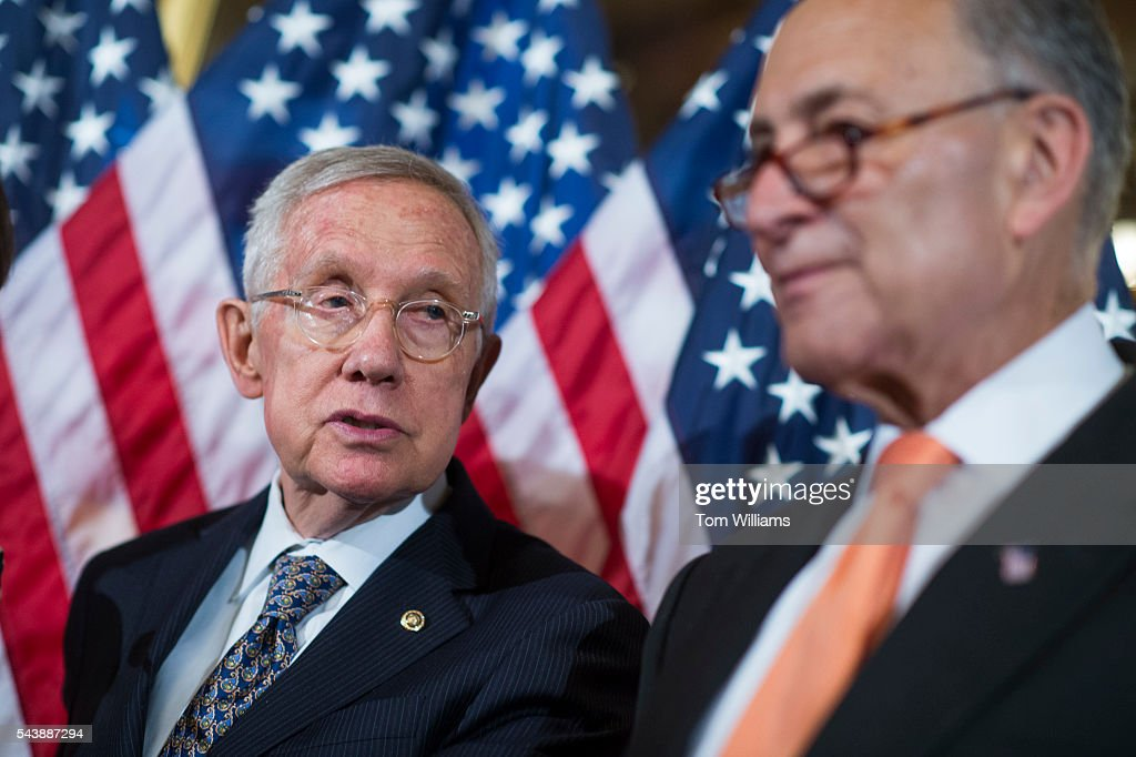 Senate Minority Leader Harry Reid, D-Nev., left, and Sen. Charles Schumer, D-N.Y., conduct a news conference in the Capitol to call on Republicans to cut the Congressional recess short and work on Zika legislation, June 30, 2016.