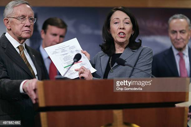 Senate Minority Leader Harry Reid Sen Chris Murphy Senate Homeland Security Committee ranking member Sen Maria Cantwell and Sen Charles Schumer hold...