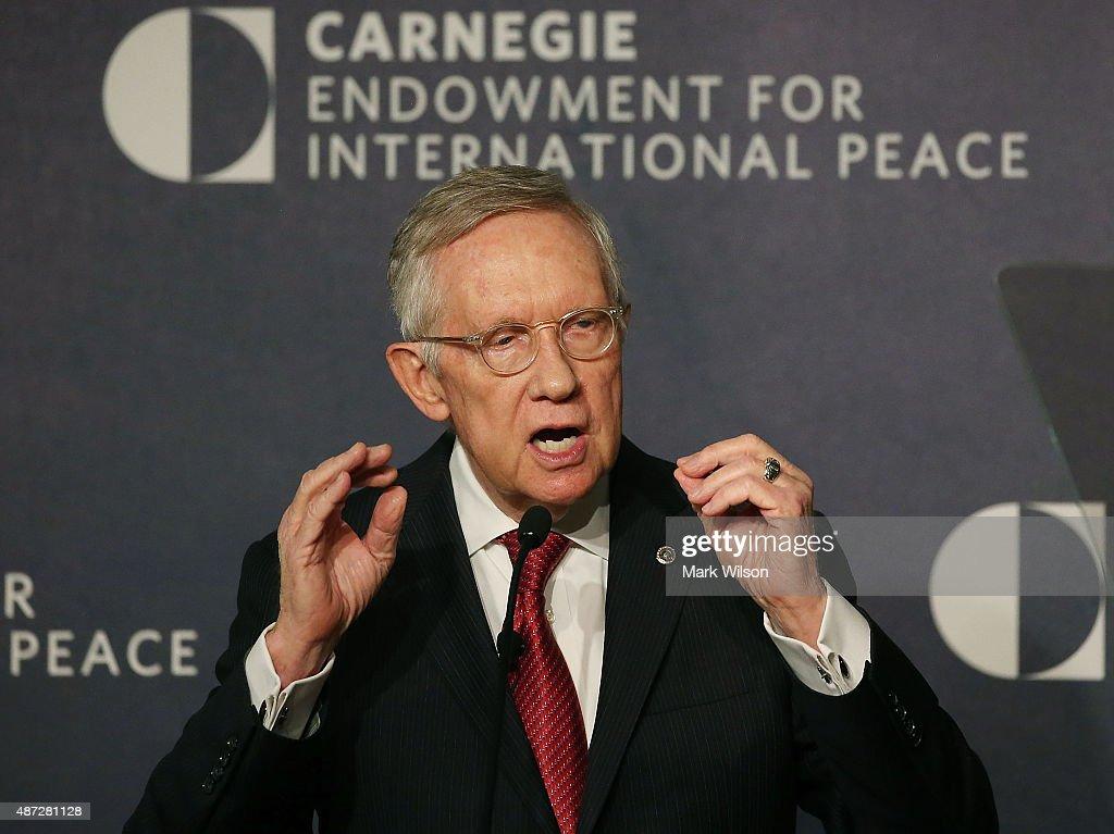 Senate Minority Leader Harry Reid speaks about Iran at the Carnegie Endowment for International Peace September 8 2015 in Washington DC Leader Reid...