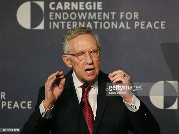 Senate Minority Leader Harry Reid speaks about Iran at the Carnegie Endowment for International Peace September 8 2015 in Washington DC Leader Reid...