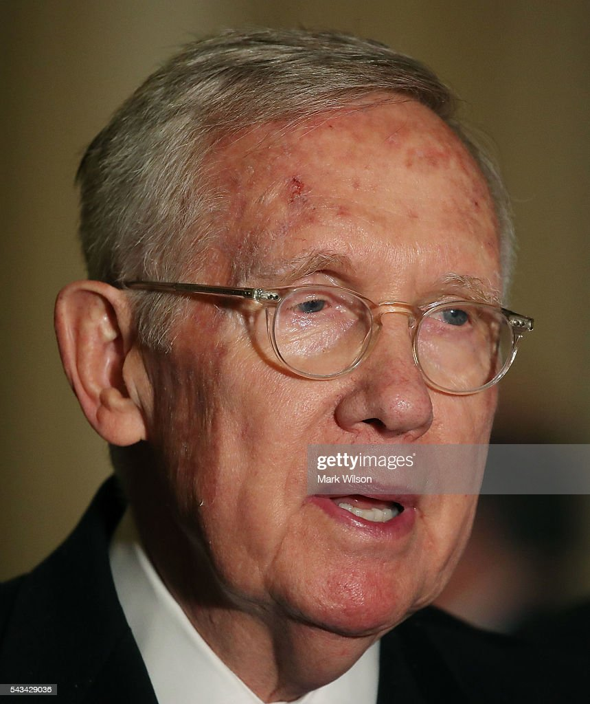 Senate Minority Leader Harry Reid (D-NV), speaks to reporters on Capitol Hill, June 28, 2016 in Washington, DC. The Senate lawmakers addressed the press affter their weekly policy luncheons.