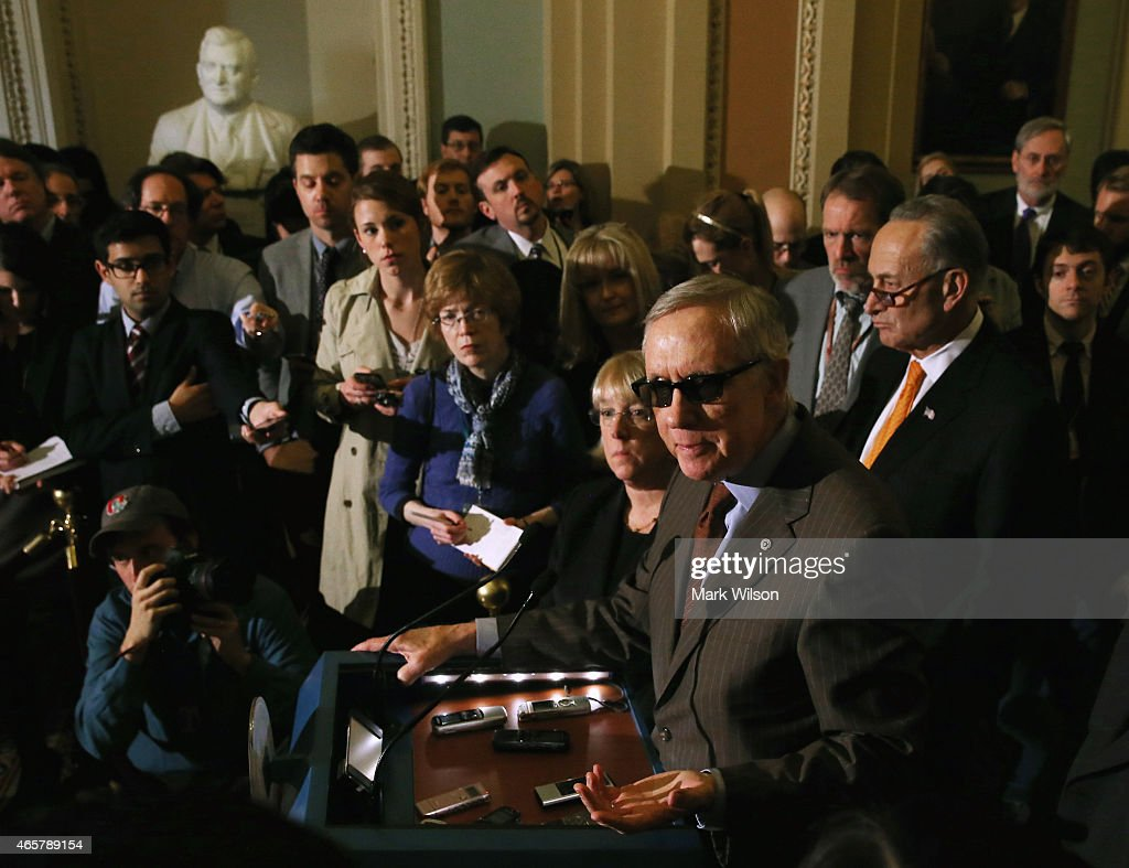 Senate Minority Leader Harry Reid speaks to the media during a news conference at the US Capitol March 10 2015 on Capitol Hill in Washington DC...