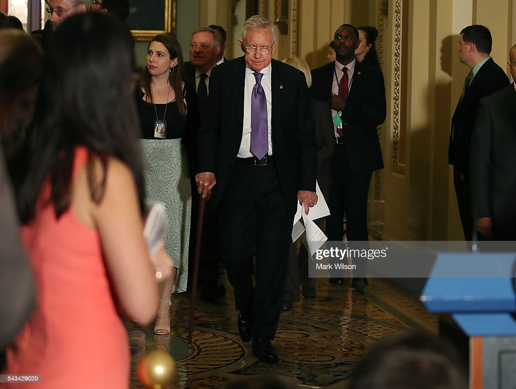 Senate Minority Leader Harry Reid (D-NV), walks up to speak to reporters on Capitol Hill, June 28, 2016 in Washington, DC. The Senate lawmakers addressed the press affter their weekly policy luncheons.