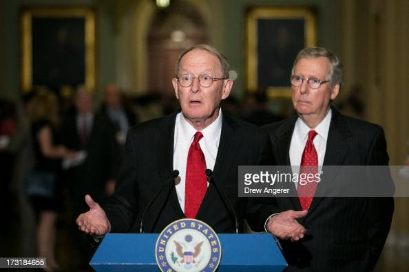 Senate Minority Leader Mitch McConnell and US Sen Lamar Alexander give a press conference after meeting with fellow Republican Senators on Capitol...