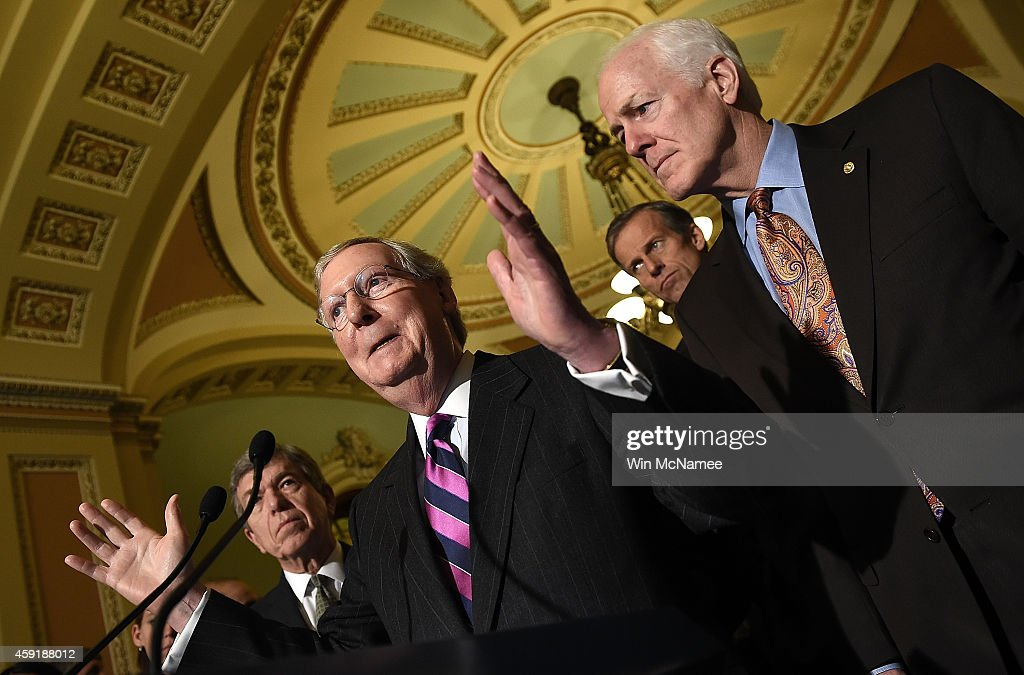 Senate Minority Leader <a gi-track='captionPersonalityLinkClicked' href=/galleries/search?phrase=Mitch+McConnell&family=editorial&specificpeople=217985 ng-click='$event.stopPropagation()'>Mitch McConnell</a> (2nd L) (R-KY) answers questions with members of the Republican senate leadership following the weekly Republican policy luncheon at the U.S. Capitol November 18, 2014 in Washington, DC. Members of the leadership discussed a possible vote of the Keystone XL pipeline that may take place later today. Also pictured are (L-R) Sen. Roy Bluny (R-MO), Sen. <a gi-track='captionPersonalityLinkClicked' href=/galleries/search?phrase=John+Barrasso&family=editorial&specificpeople=5312607 ng-click='$event.stopPropagation()'>John Barrasso</a> (R-WY) and Sen. <a gi-track='captionPersonalityLinkClicked' href=/galleries/search?phrase=John+Cornyn&family=editorial&specificpeople=154884 ng-click='$event.stopPropagation()'>John Cornyn</a> (R-TX).