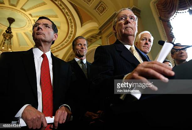 Senate Minority Leader Mitch McConnell answers questions with Republican leaders following the weekly Republican policy luncheon at the US Capitol...