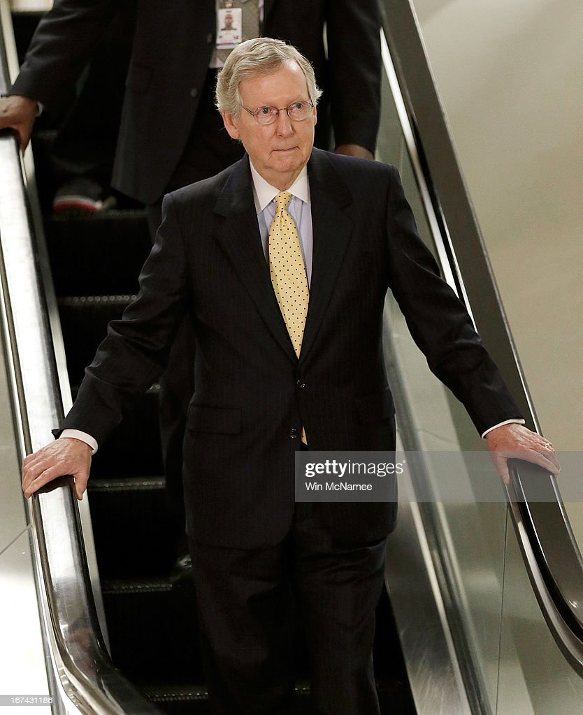 U.S. Senate Minority Leader <a gi-track='captionPersonalityLinkClicked' href=/galleries/search?phrase=Mitch+McConnell&family=editorial&specificpeople=217985 ng-click='$event.stopPropagation()'>Mitch McConnell</a> (R-KY) arrives at the U.S. Capitol for a classified briefing April 25, 2013 in Washington, DC. Members of the U.S. Senate and Senate leadership received the latest updates from members of the U.S. intelligence community on developments.