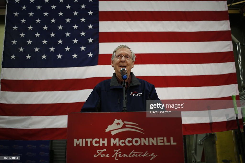 Senate Minority Leader Mitch McConnell delivers a stump speech during a campaign stop at Brandeis Machinery Supply Company on October 31 2014 in...