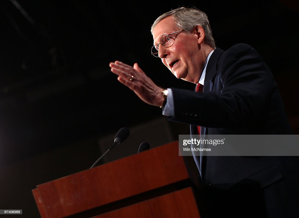 Senate Minority Leader Mitch McConnell delivers the Republican response to President Barack Obama's address on health care reform at the US Capitol...