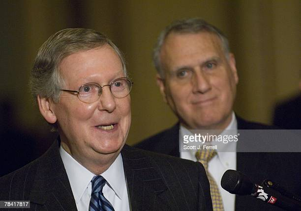 Senate Minority Leader Mitch McConnell RKy and Senate GOP Conference Chairman Jon Kyl RAriz during a news conference on the omnibus appropriations...