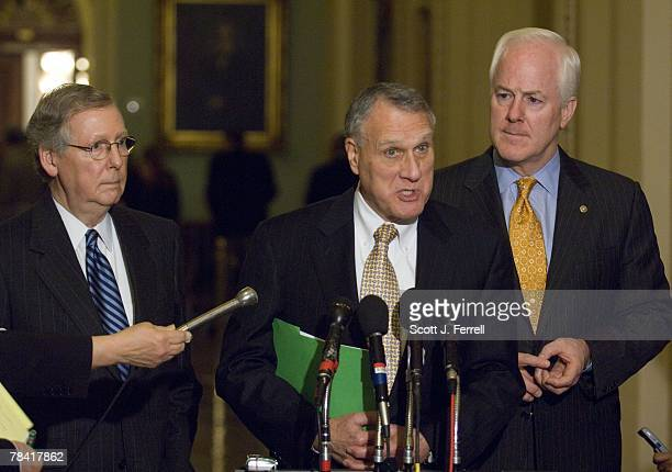 Senate Minority Leader Mitch McConnell RKy Senate GOP Conference Chairman Jon Kyl RAriz and Senate GOP Conference Vice Chairman John Cornyn RTexas...