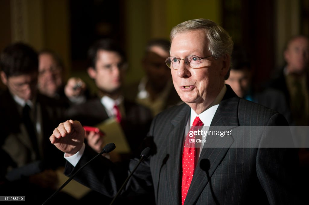 Senate Minority Leader Mitch McConnell, R-Ky., speaks to the media in the Ohio Clock Corridor before the Senate Republicans' policy lunch on Tuesday, July 23, 2013.