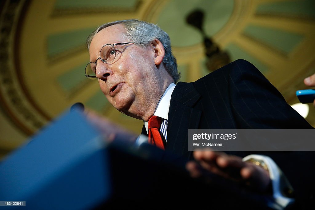 Senate Minority Leader <a gi-track='captionPersonalityLinkClicked' href=/galleries/search?phrase=Mitch+McConnell&family=editorial&specificpeople=217985 ng-click='$event.stopPropagation()'>Mitch McConnell</a> (R-KY) speaks with reporters following the weekly policy luncheon for Senate Democrats April 8, 2014 in Washington, DC. Senate Democrats and Republicans are currently discussing legislation proposed by each side to alleviate a gap in wages between men and women.