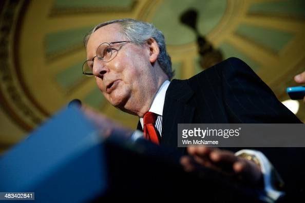 Senate Minority Leader Mitch McConnell speaks with reporters following the weekly policy luncheon for Senate Democrats April 8 2014 in Washington DC...