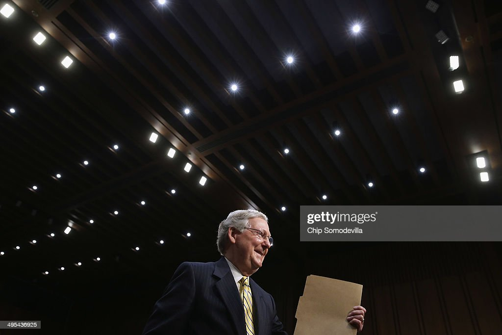Senate Minority Leader <a gi-track='captionPersonalityLinkClicked' href=/galleries/search?phrase=Mitch+McConnell&family=editorial&specificpeople=217985 ng-click='$event.stopPropagation()'>Mitch McConnell</a> (R-KY) stands up after testifying to the Senate Judiciary Committee about political donations and freedom of speech in the Hart Senate Office Building June 3, 2014 in Washington, DC. Liberal political groups delivered two million petitions calling for a campaign finance constitutional amendment and pushing for '...a proposed constitutional amendment to restore the ability of Congress and the states to regulate the raising and spending of money in elections.'