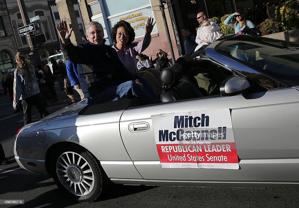 GOP Senate Candidate Mitch McConnell Marches In Veterans Day Parade