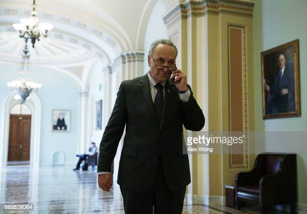 S Senate Minority Leader Sen Charles Schumer leaves the Senate Chamber at the Capitol after a vote April 7 2017 in Washington DC The Senate has...