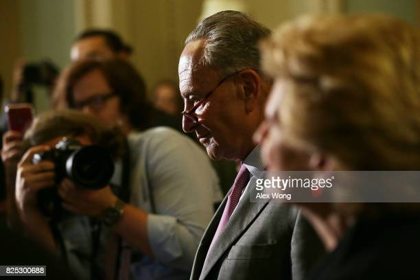 S Senate Minority Leader Sen Chuck Schumer listens during a media briefing at the Capitol August 1 2017 in Washington DC Senate Deomcrats held their...