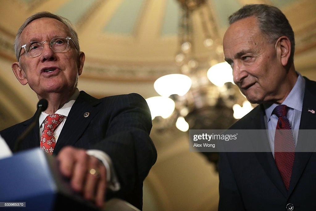 U.S. Senate Minority Leader Sen. <a gi-track='captionPersonalityLinkClicked' href=/galleries/search?phrase=Harry+Reid+-+Pol%C3%ADtico&family=editorial&specificpeople=203136 ng-click='$event.stopPropagation()'>Harry Reid</a> (D-NV) (L) and Sen. <a gi-track='captionPersonalityLinkClicked' href=/galleries/search?phrase=Charles+Schumer&family=editorial&specificpeople=171249 ng-click='$event.stopPropagation()'>Charles Schumer</a> (D-NY) (R) participate in a news briefing after the weekly Senate Democratic Policy Committee luncheon May 24, 2016 on Capitol Hill in Washington, DC. Senate Democrats held a policy luncheon to discuss Democratic agenda.