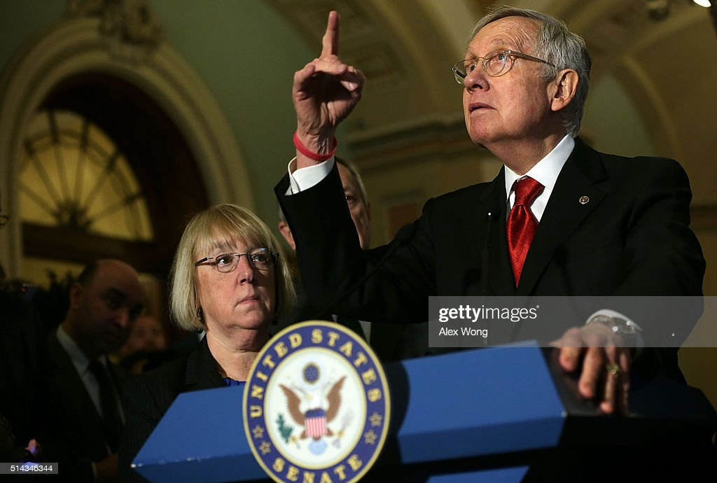 U.S. Senate Minority Leader Sen. <a gi-track='captionPersonalityLinkClicked' href=/galleries/search?phrase=Harry+Reid+-+Politician&family=editorial&specificpeople=203136 ng-click='$event.stopPropagation()'>Harry Reid</a> (D-NV) (R) and Sen. <a gi-track='captionPersonalityLinkClicked' href=/galleries/search?phrase=Patty+Murray&family=editorial&specificpeople=532963 ng-click='$event.stopPropagation()'>Patty Murray</a> (D-WA) (L) during a news briefing after the weekly Democratic policy luncheon March 8, 2016 on Capitol Hill in Washington, DC. Senate Democrats held its weekly luncheon to discuss Democratic agenda.