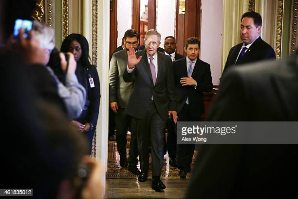 S Senate Minority Leader Sen Harry Reid arrives at the Senate Democratic weekly policy luncheon at the US Capitol January 20 2015 on Capitol Hill in...