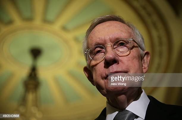 S Senate Minority Leader Sen Harry Reid speaks during a media briefing after the weekly Senate Democratic Policy Luncheon September 29 2015 at the US...