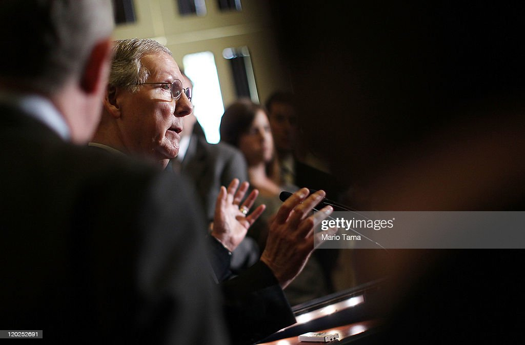 Senate Minority Leader Sen. Mitch McConnell (R-KY) addresses the media after voting on the debt limit bill on August 2, 2011 in Washington, DC. The Senate voted 74-26 to approve the bill to raise the debt ceiling, allowing the U.S. to avoid default on its debts.