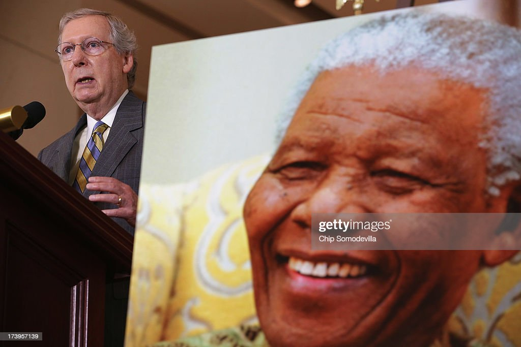 Senate Minority Leader Sen. Mitch McConnell (R-KY) delivers remarks during a ceremony to celebrate the life Nobel Peace Prize laureate and former South Africa President Nelson Mandela on the occasion of his 95th birthday in the U.S. Capitol Visitor Center July 18, 2013 in Washington, DC. July 18 is Nelson Mandela Day, during which people are asked to give 67 minutes of time to charity and service in their community to honor the 67 years Mandela gave to public service. Mandela was admitted to a South African hospital June 8 where he is being treated for a recurring lung infection.