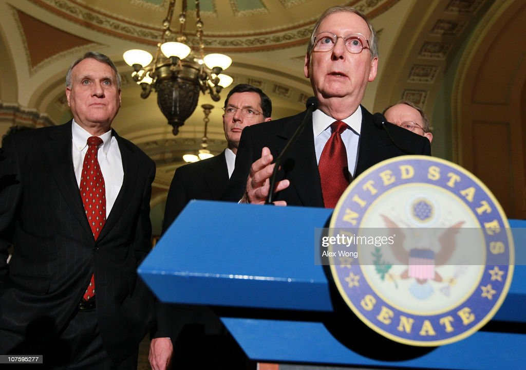 U.S. Senate Minority Leader Sen. Mitch McConnell (R-KY) (3rd L), Senate Minority Whip Sen. Jon Kyl (R-AZ) (L), and Sen. John Barrasso (R-WY) (2nd L) speak to the media on Capitol Hill December 14, 2010 in Washington, DC. The Senate Republicans spoke to the media on various issues including the omnibus spending bill.
