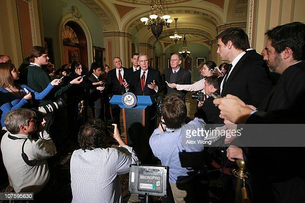 S Senate Minority Leader Sen Mitch McConnell Senate Minority Whip Sen Jon Kyl Sen Lamar Alexander and Sen John Barrasso speak to the media on Capitol...